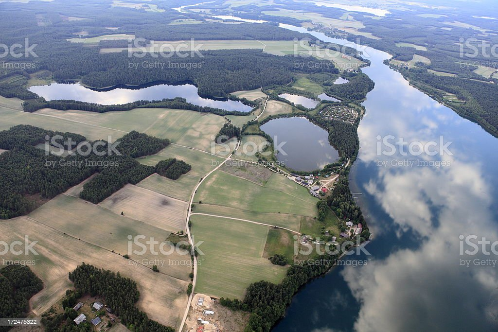 Aerial photo of Gwiazdy Lake royalty-free stock photo