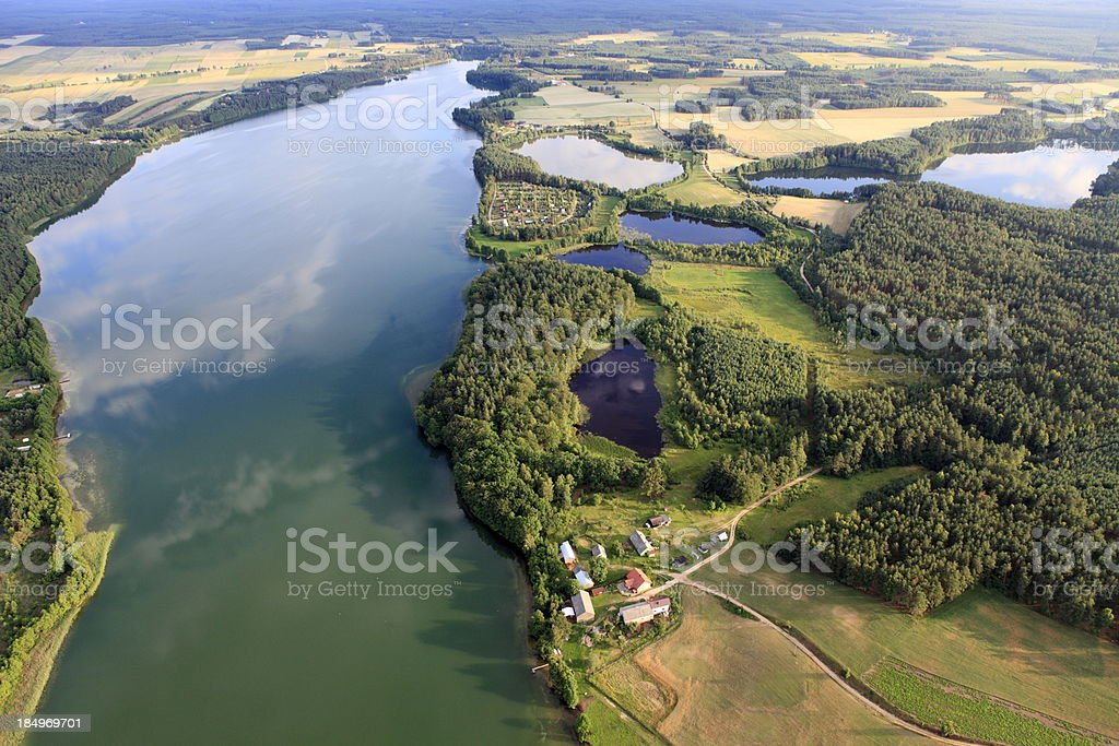 Aerial photo of Gwiazdy Lake stock photo