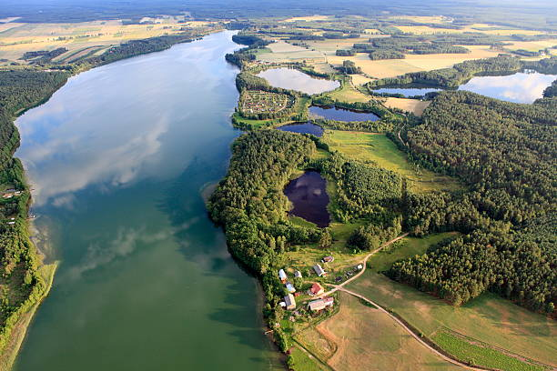 Aerial photo of Gwiazdy Lake stock photo