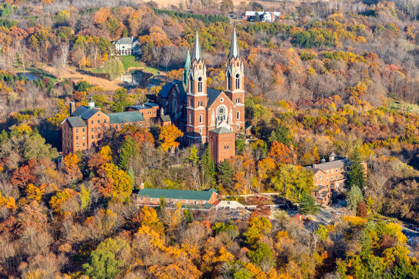 Aerial photo of Holy Hill in the fall. stock photo