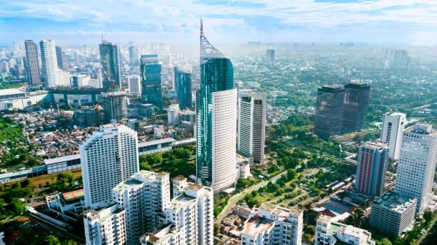 Aerial photo of iconic BNI 46 Tower Jakarta Indonesia