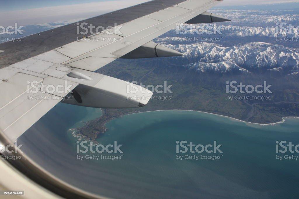 Aerial photo of Kaikoura, New Zealand. stock photo