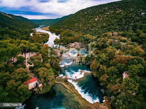 Aerial Photo of Krka waterfalls in the Krka National Park in autumn, Croatia.