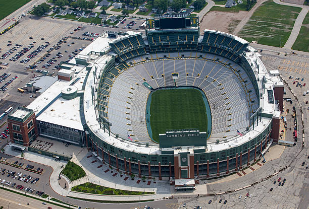 aerial photo of lambeau field - green bay wisconsin stock photos and pictures