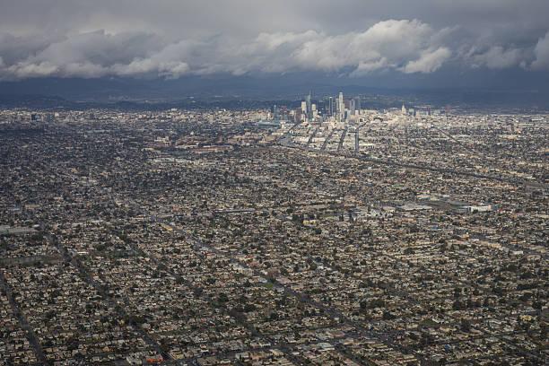 aerial photo of los angeles after rain storm with clouds - süd kalifornien stock-fotos und bilder