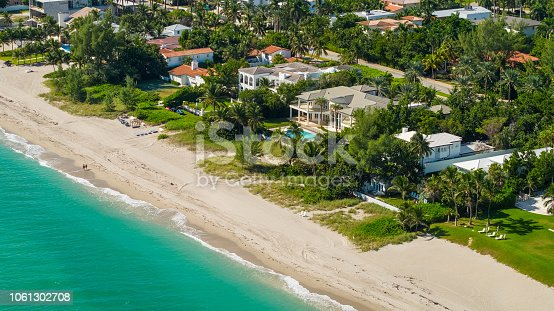 Aerial Miami luxury waterfront homes