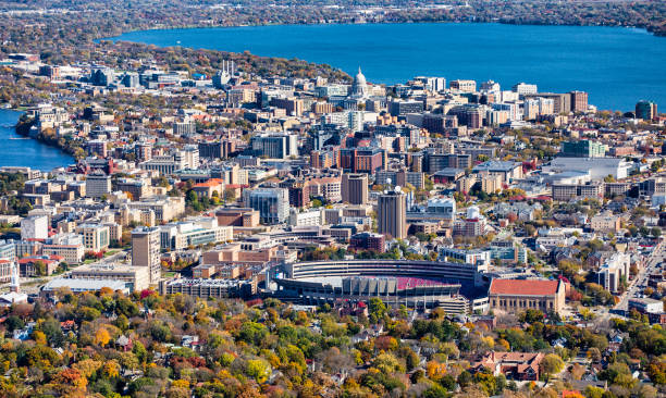 Aerial photo of Madison, Wisconsin An aerial photo of downtown Madison, Wisconsin taken from an airplane during the daytime. madison wisconsin stock pictures, royalty-free photos & images