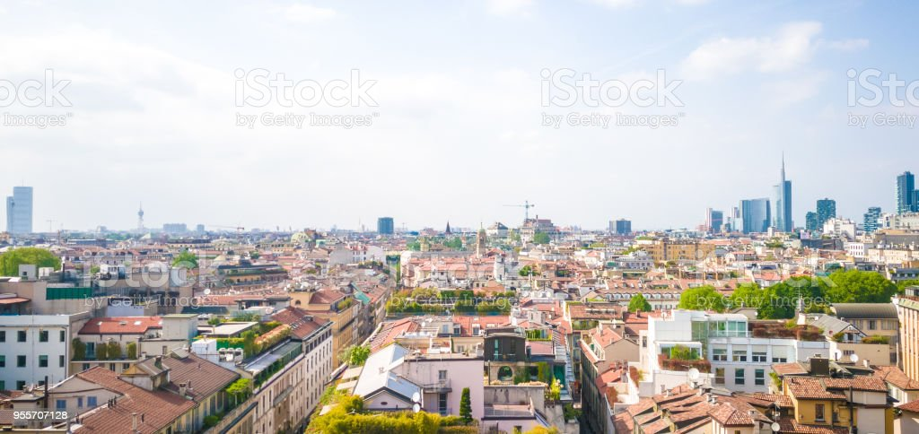 Aerial photo of Milan during a sunny spring day stock photo