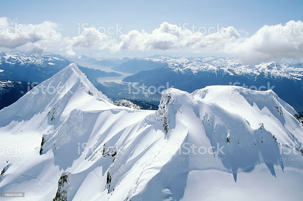 Aerial photo of Mount Garibaldi, Squamish BC stock photo