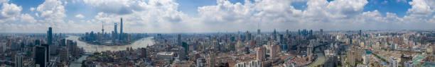 Luftaufnahme von Panorama Skyline Shanghai China – Foto