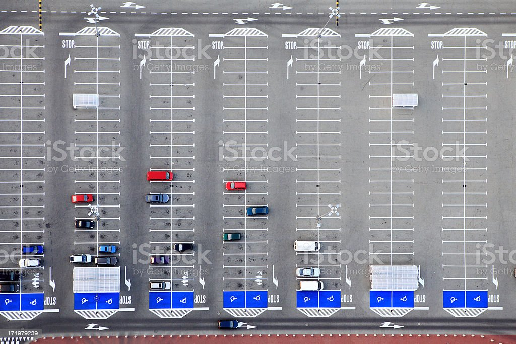 Aerial photo of parking lot stock photo