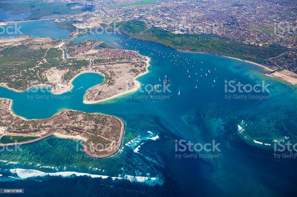 Aerial photo of Pulau Serangan - turtle island, Bali island stock photo
