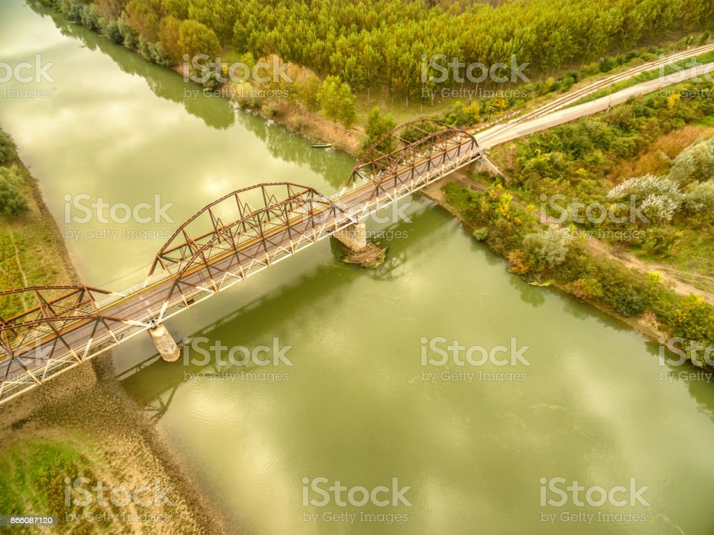 Aerial photo of Road Bridge Across The River stock photo