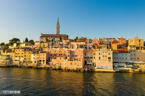istock Aerial photo of Rovinj town at sunset 1271531846