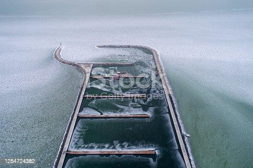 Aerial photo of Sailing boats in Lake Balaton, at Balatonfenyves