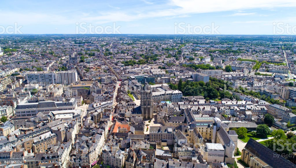 Aerial photo of Saint Aubin tower in Angers city stock photo