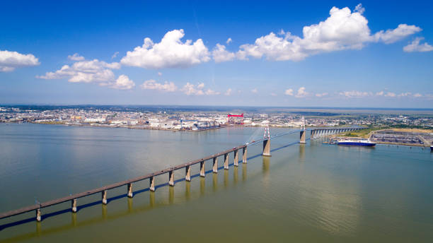aerial photo of saint nazaire bridge - estuário imagens e fotografias de stock