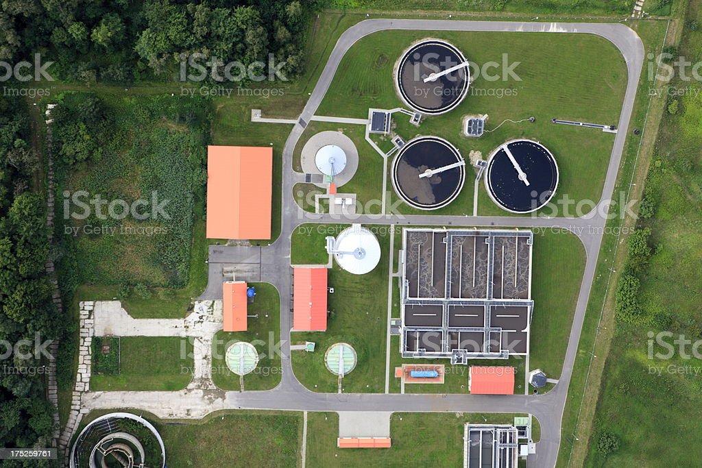 Aerial photo of Sewage Treatment Plant stock photo