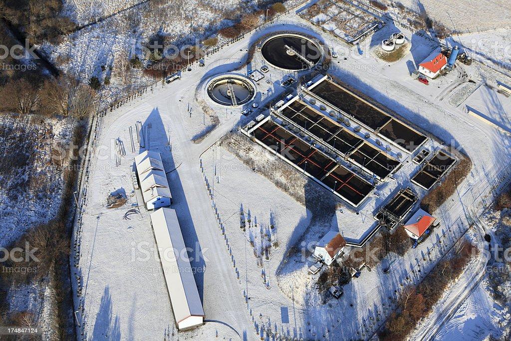 Aerial photo of Sewage Treatment Plant. Winter royalty-free stock photo
