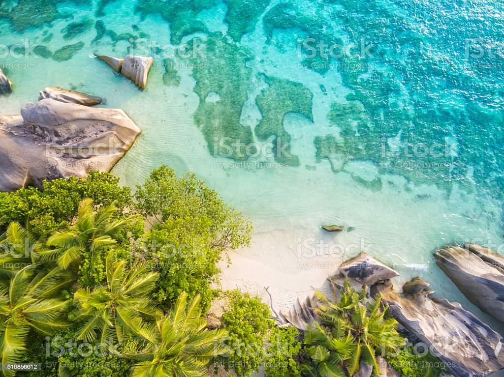 Aerial photo of Seychelles beach at La Digue stock photo