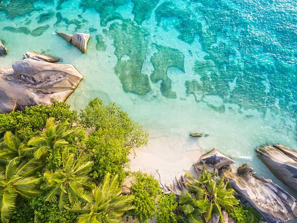aerial photo of seychelles beach at la digue - 세이셸 뉴스 사진 이미지