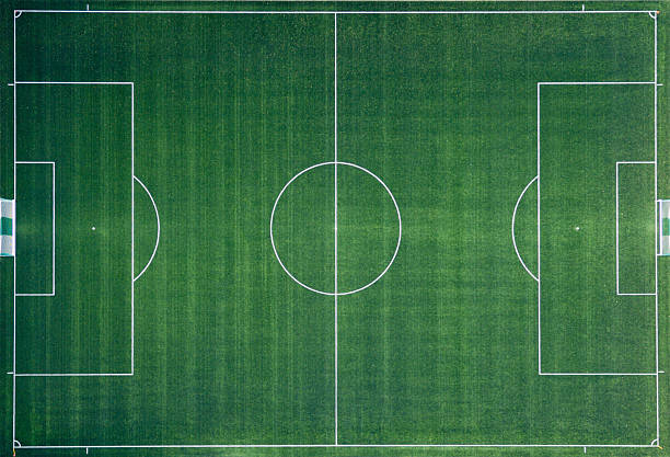 aerial photo of soccer field - soccer field stock photos and pictures