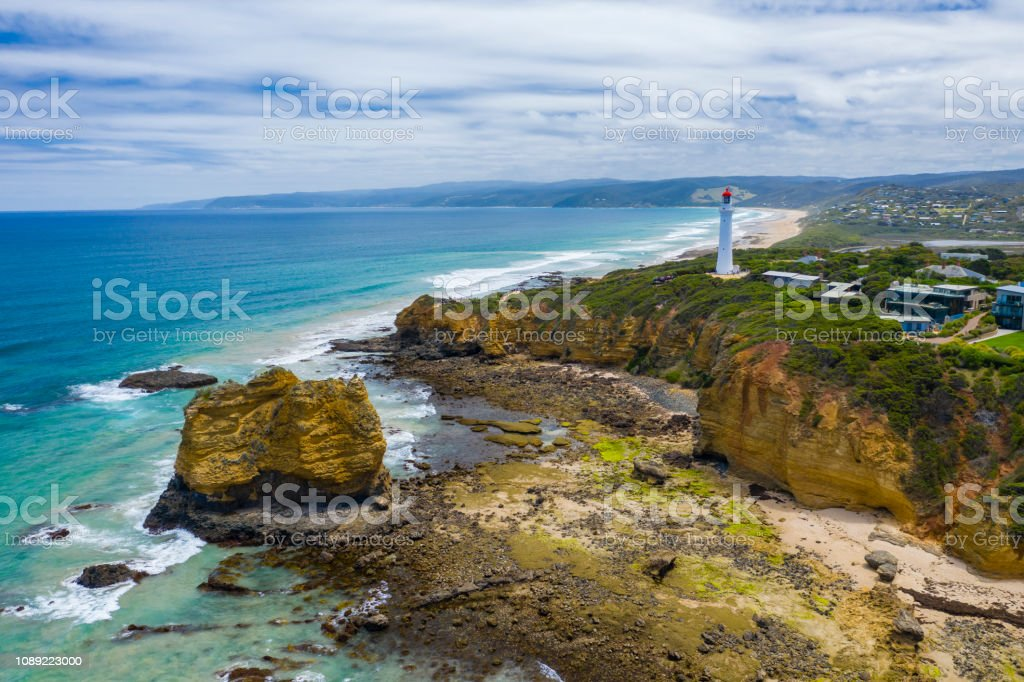 Aerial photo of Split Point Lightouse along the Great Ocean Road stock photo