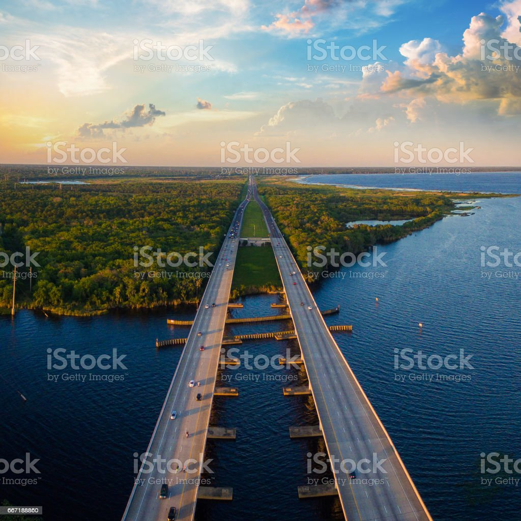Aerial photo of St. Johns River and Interstate I4 in Florida stock photo