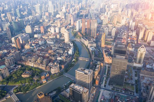 Luftaufnahme von Sonnenaufgang Panorama Skyline Shanghai China – Foto