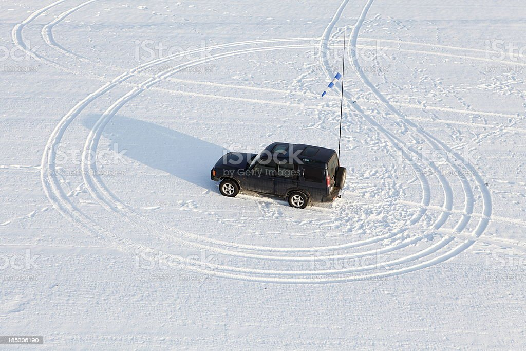 Aerial photo of SUV 4x4 stock photo