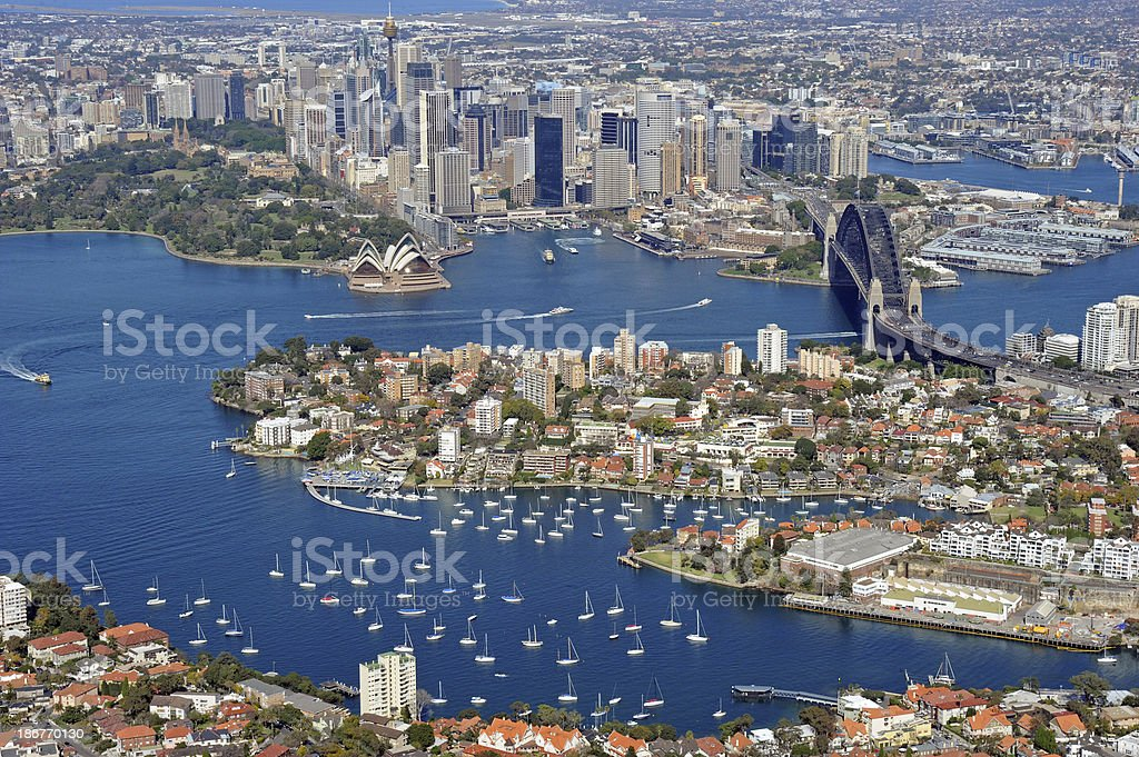 Aerial photo of Sydney Harbour and City stock photo