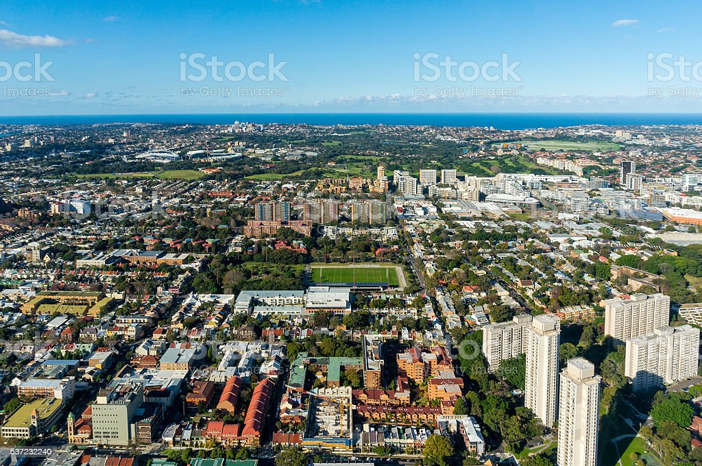 Aerial photo of Sydney neighbourhood suburb stock photo