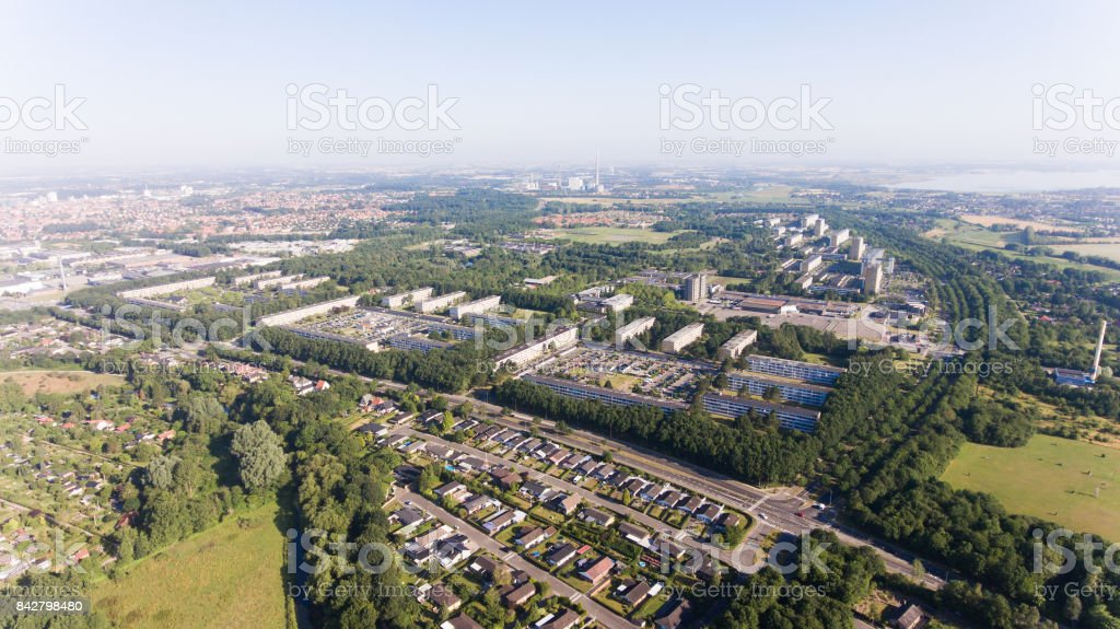 Aerial photo of the city of Odense, Denmark stock photo