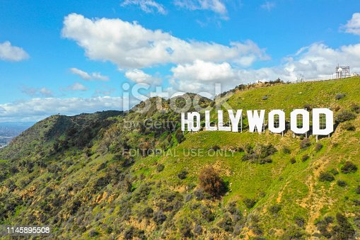 Hollywood, CA, USA - MARCH 15, 2019: Aerial photo of the Hollywood sign a world famous tourist destination