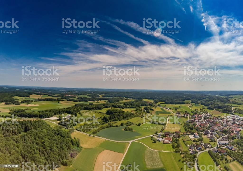 Aerial photo of the landscape of the franconian suisse near the village of Biberbach, Germany - Bavaria stock photo
