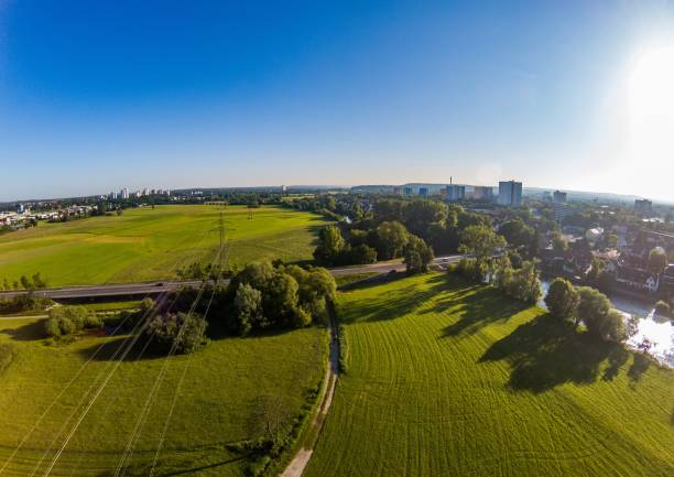 Aerial photo of the meadows and river Regnitz at Erlangen Aerial photo of the meadows and river Regnitz at Erlangen, Germany erlangen stock pictures, royalty-free photos & images
