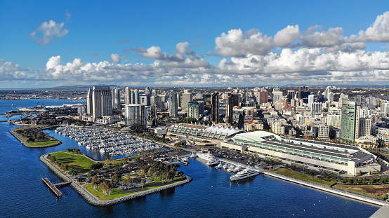 Aerial photo of the San Diego waterfront on an overcast day
