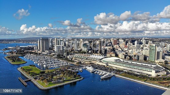 View of the San Diego skyline from the convention center to Seaport Village.