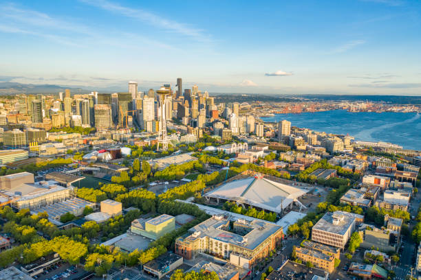 Aerial photo of the Seattle from Queen Anne stock photo