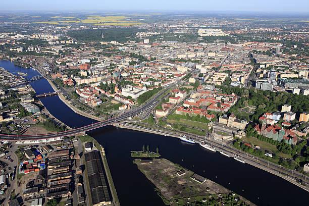 Aerial photo of the Szczecin city stock photo