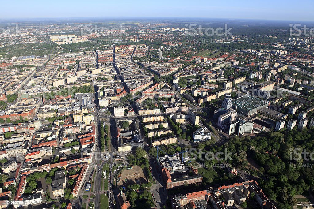 Aerial photo of the Szczecin city royalty-free stock photo
