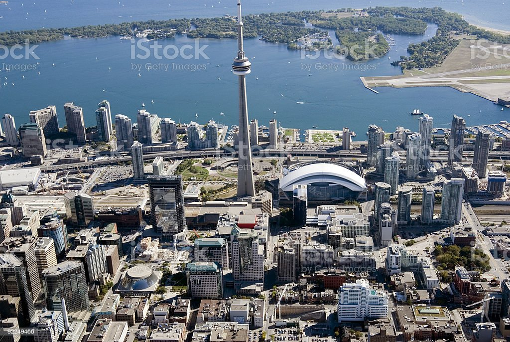 Aerial photo of the Toronto Towers in Canada stock photo