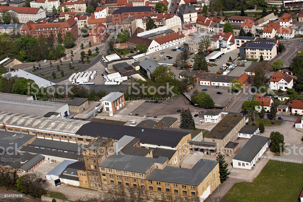 Aerial photo of the town Torgau stock photo