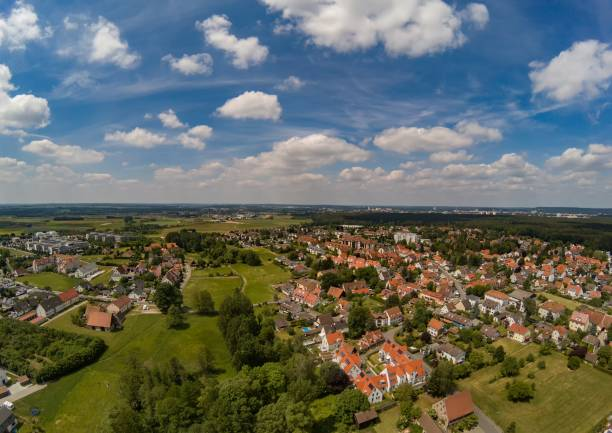 Aerial photo of the village Tennenlohe near the city of Erlangen, Germany Aerial photo of the village Tennenlohe near the city of Erlangen, Germany erlangen stock pictures, royalty-free photos & images