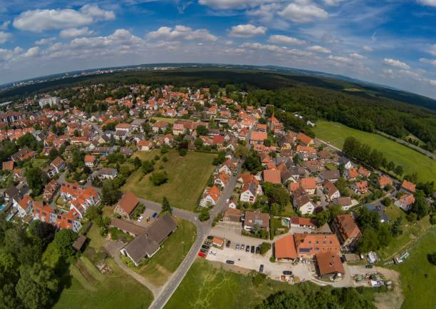 Aerial photo of the village Tennenlohe near the city of Erlangen, Germany stock photo
