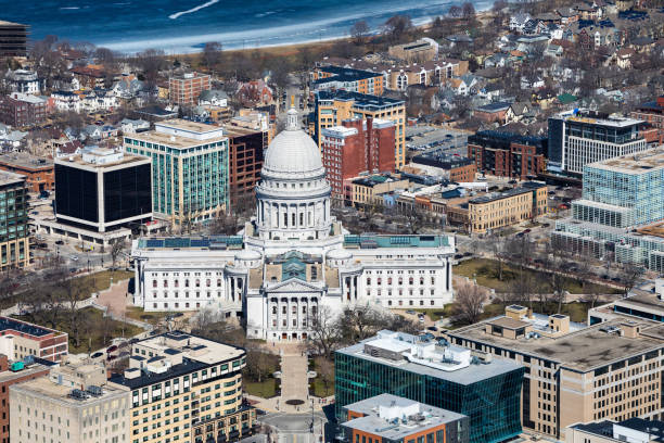 Aerial photo of the Wisconsin State Capitol stock photo