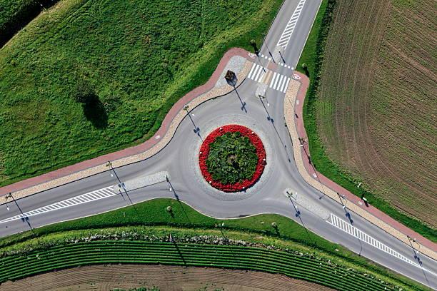 photo aérienne du rond-point dans gniewino - rond point photos et images de collection
