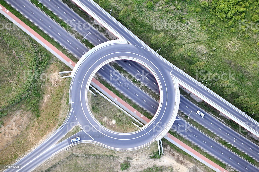 Aerial photo of Traffic Circle stock photo