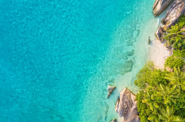 Aerial photo of tropical Seychelles beach at La Digue island stock photo