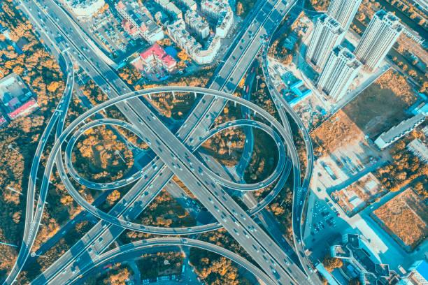 Luftaufnahme von Urban AutobahnVerkehr von shanghai – Foto